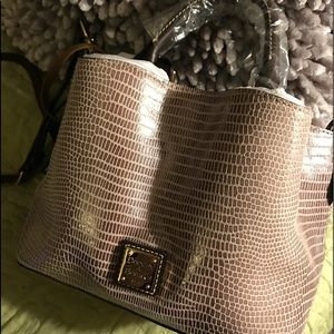 Dooney & Bourke Gray Lizard Mini Barlow. NWT.